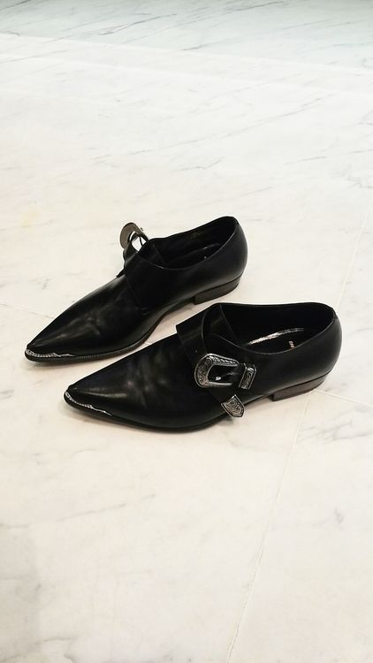 ☆ Saint Laurent Negro hebilla occidental zapatos de cuero