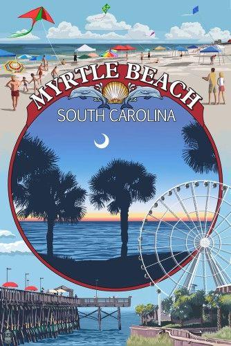 Myrtle Beach South Carolina Montage Lantern Press