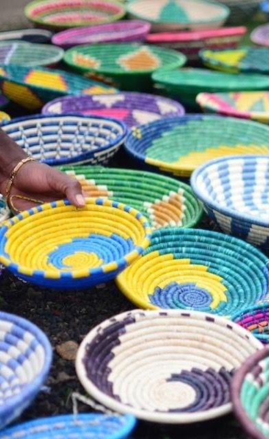 Souvenirs from Rwanda, Africa. Gorgeous handwoven bowls-- watch as the artisan makes them in front of you.