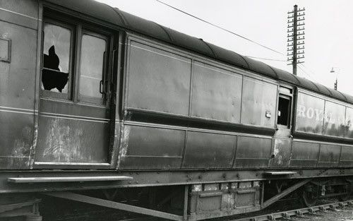 The train carriage following the Great Train Robbery. © Thames Valley Police.