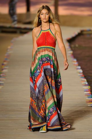 Gigi Hadid walks the runway for Tommy Hilfiger Spring 2016. See all the best runway looks from New York Fashion Week here: