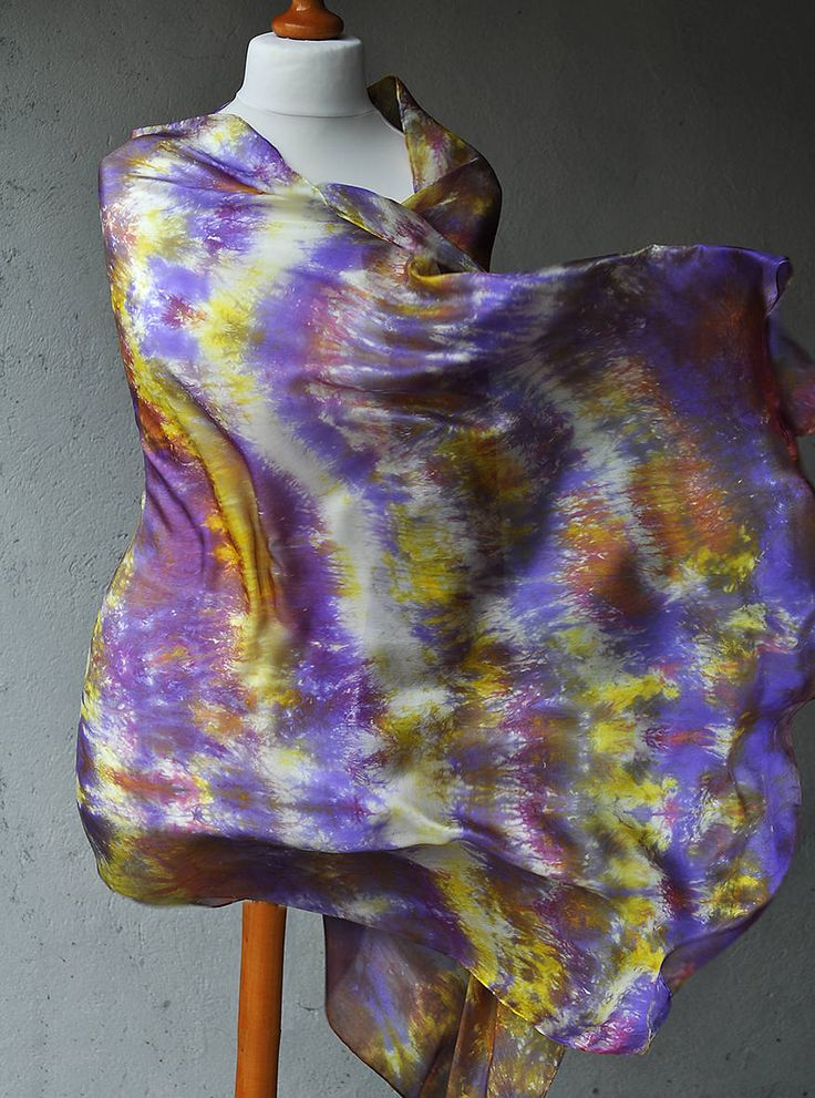 Pure Silk Scarf Handmade -- Hand Painted Abstract Silk Scarf Shawl - Purple Violet Multicolor Yellow by ShellenD on Etsy