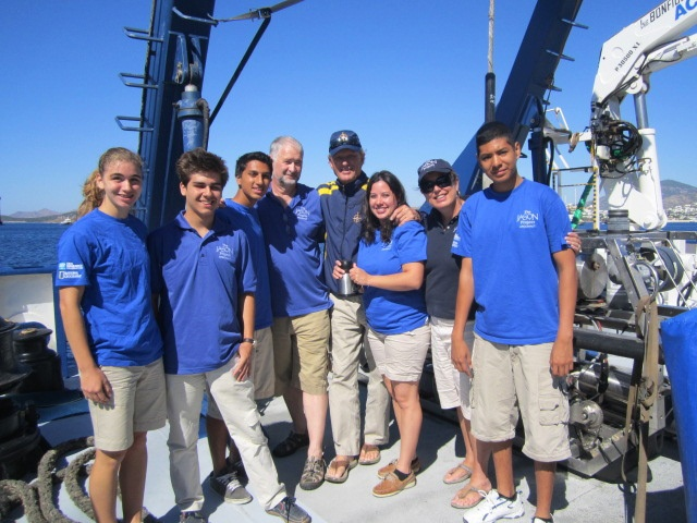 Ninth-graders Fredy Corrales (Northbrook High), Allison Eggert (Memorial High) and Sheena Guevara (a science teacher at Northbrook Middle School) aboard the EV Nautilus with The Jason Project Team.