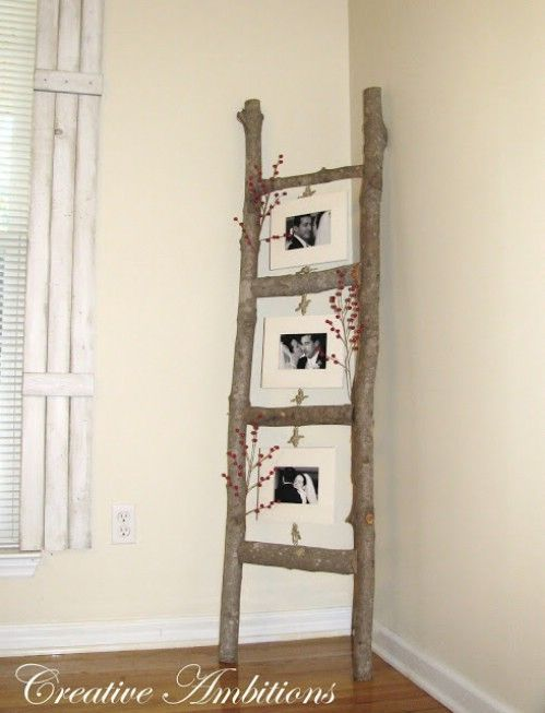 40 Rustic Home Decor Ideas You Can Build Yourself http://creative-ambitions.blogspot.com/2010/10/my-version-of-photo-ladder.html