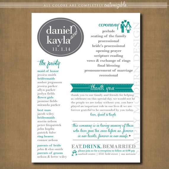 Modern wedding program ceremony program by xsimplymoderndesignx to do pinterest modern for Wedding program info