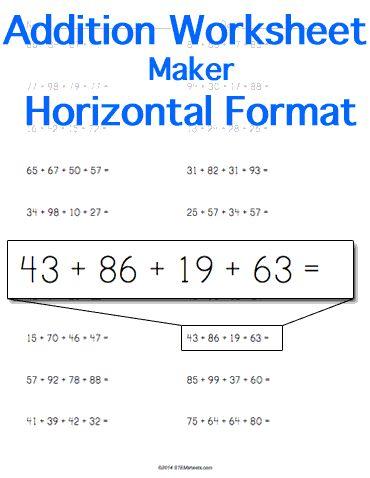 Addition Worksheets printable addition worksheets generator : 1000+ images about Math STEM Resources on Pinterest | Money ...