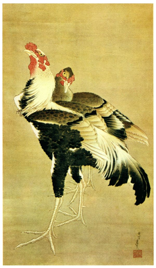 葛飾北斎 Katsushika Hokusai 軍鶏図