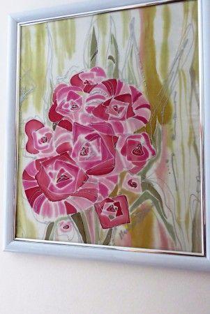 KYTICA - obraz v bielo-striebornom ráme, rozmer 50x40cm, cena 50,-€, len osobný odber, všetky obrazy sú maľované na hodvábe.
