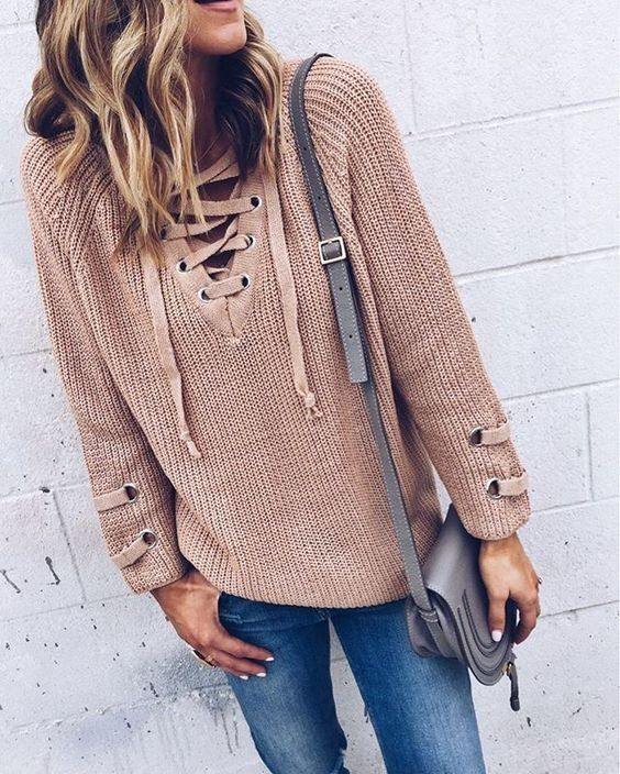 6d888766b4 This Lace Up Sweater is so on trend this season! Lace up necklines like  this are the new thing! This cozy slightly oversized sweater soft …