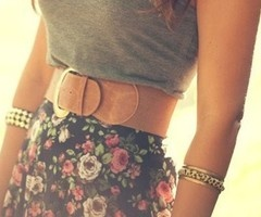 gray, brown, floral, w/hint of goldFashion, Floral Prints, Floral Skirts, Summer Outfit, Style, Clothing, Cute Outfit, Spring Outfit, Leather Belts