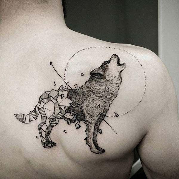 modern art wolf tattoo