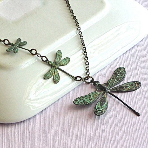 Dragonfly Necklace -Verdigris Patina Brass, Nature Jewelry, Dragonfly Jewelry, Mothers Day Gift, Gift for Woman, Dragonfly Gift, Nature Gift