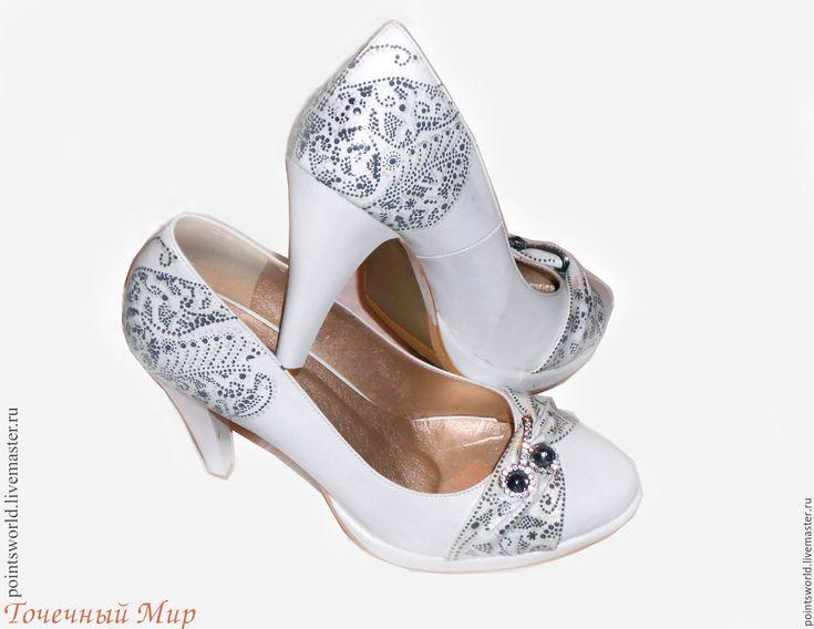 Купить Роспись обуви, туфли на свадьбу, свадебные туфли, белые туфли - ручная роспись