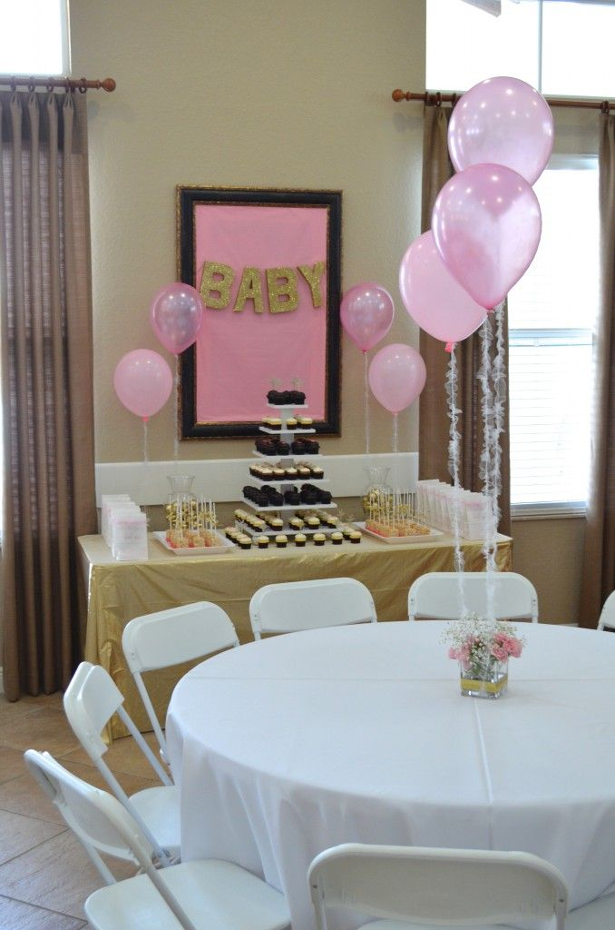 Diy pink gold baby shower decorations my momma told me for Baby shower decoration pics
