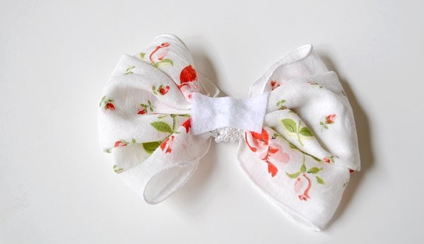 old hankie turned hair bow!