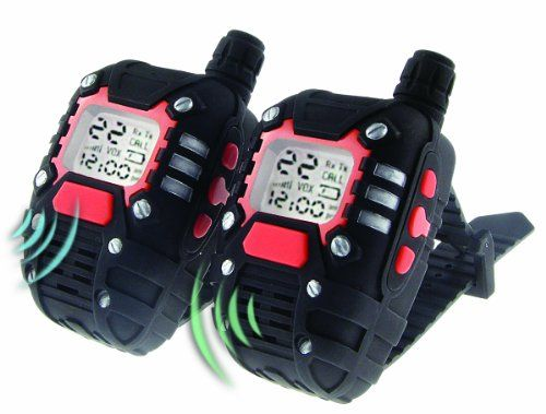 SpyX / Long Range Wrist Talkies. Perfect for the next cool day or night spy mission – or even the next camping or hiking adventure!, allow you to speak up to a mile away. Voice activation makes these walkie talkies fully hands free