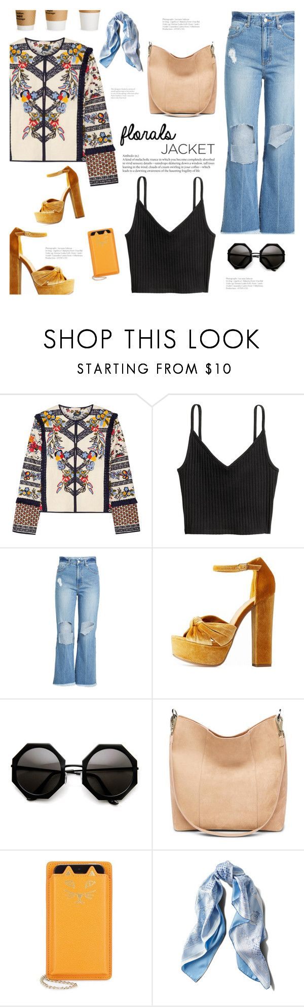 """""""Chaqueta Floreada"""" by makeupgoddess ❤ liked on Polyvore featuring Tory Burch, SJYP, Charlotte Russe, Charlotte Olympia and Asprey"""