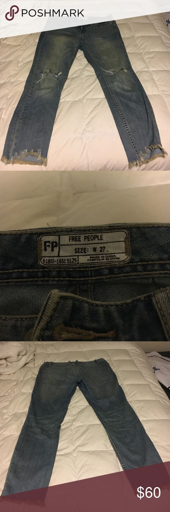 Free People Jeans Free people jeans! I've only worn them a few times and I love these jeans but they do not fit me anymore. They go perfect with everything! I'm buying another pair just in a different size because I love them so much! Free People Pants Ankle & Cropped
