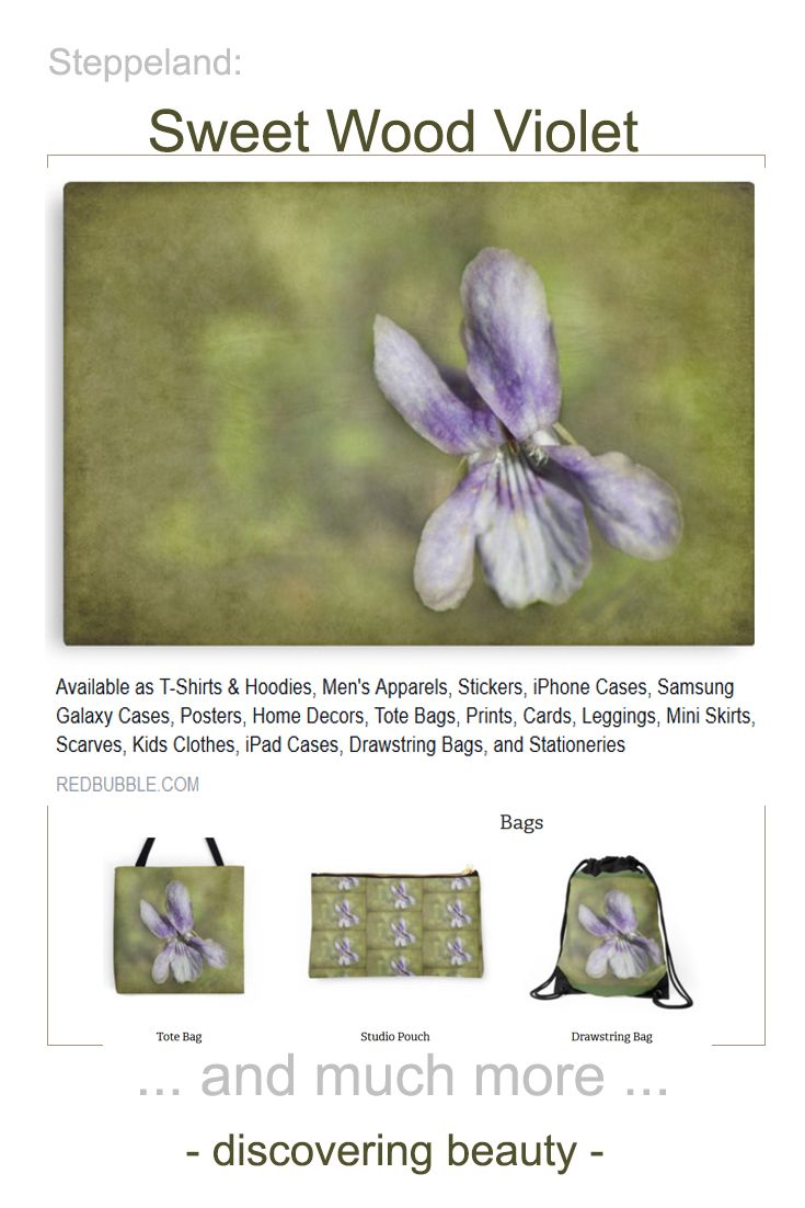 Just updated: *Sweet Wood Violet* by steppeland photography - floral design on Redbubble products