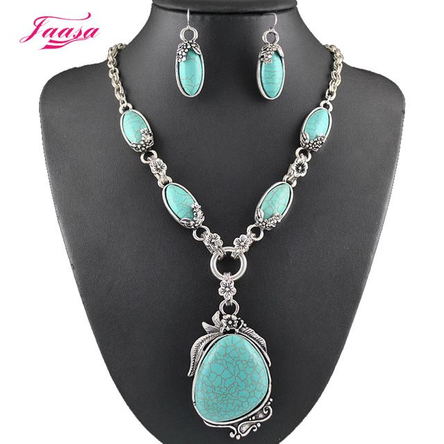 Better Deal $5.53, Buy Fashion Vintage Necklace Set Antique Silver Natural stone Jewelry Set Dangle Earrings Classic Pendant Design Fine Jewelry Sets