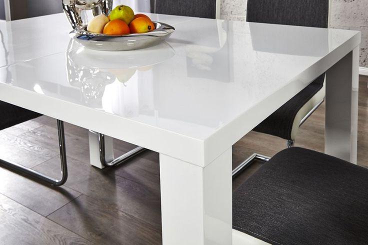 STÓŁ LUCENTE rozkładany 120-160-200 biały lakierowany 19900 invicta interior wysoki połysk white nowoczesne meble - Planeta Design MEBLE DEKORACJE DESIGNERSKIE NOWOCZESNE KARE INVICTA INTERIOR wysyłka w 48h