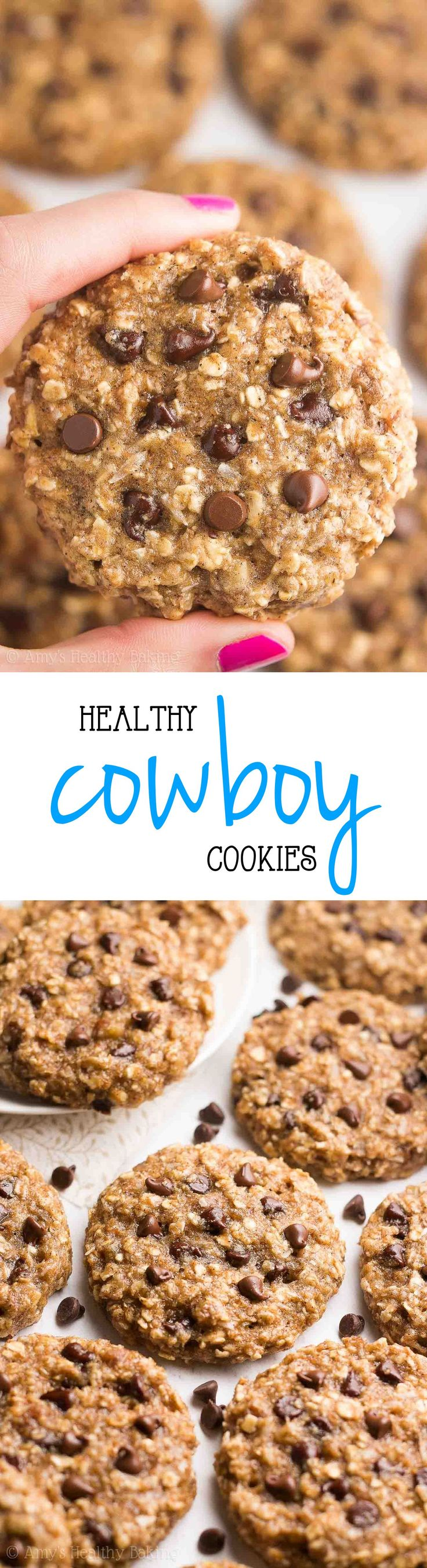 The BEST {Healthy!} Classic Cowboy Cookies! Chewy, 103 calories & full of chocolate chips, pecans & coconut! And this recipe is really easy to make too!