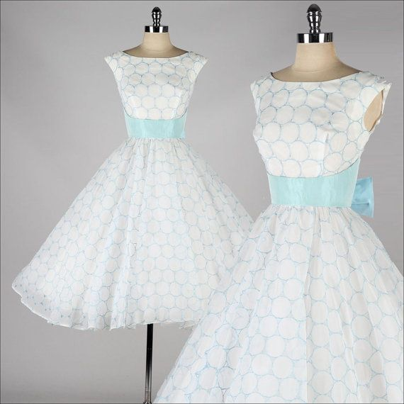 vintage 1950s dress . white chiffon . sky blue embroidered circles . 4176