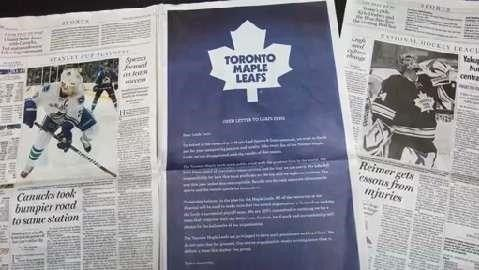 Toronto Maple Leafs Apologize to Fans For Missing Playoffs, Again