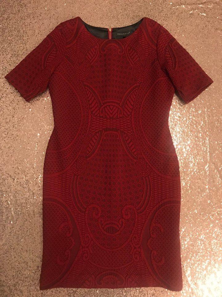 -% M&S PER UNA Red Textured Midi Shift Dress UK 16