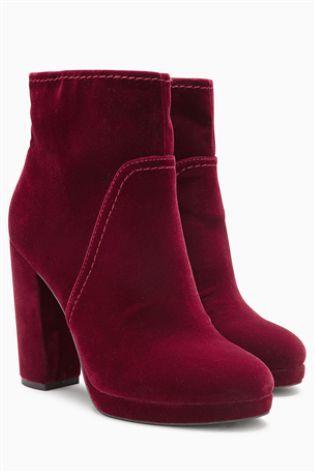 Red Velvet Platform Ankle Boots