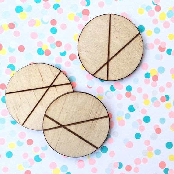 CIRCLE WOOD CUTOUT - 5x Quality Laser Cut & Engraved Natural Wood Large Circle With Geometric Design 35mm