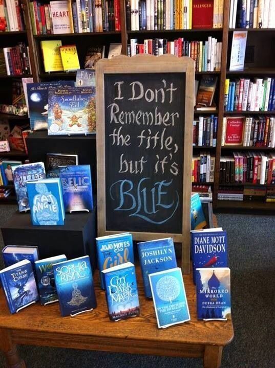 """I don't remember the title, but it's blue."" Library humor from oh Myyy on Facebook"