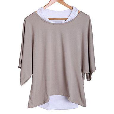 De las mujeres de la nueva señora Loose Tops Batwing T-Shirt Casual Blusa Tank + chaleco – USD $ 11.89