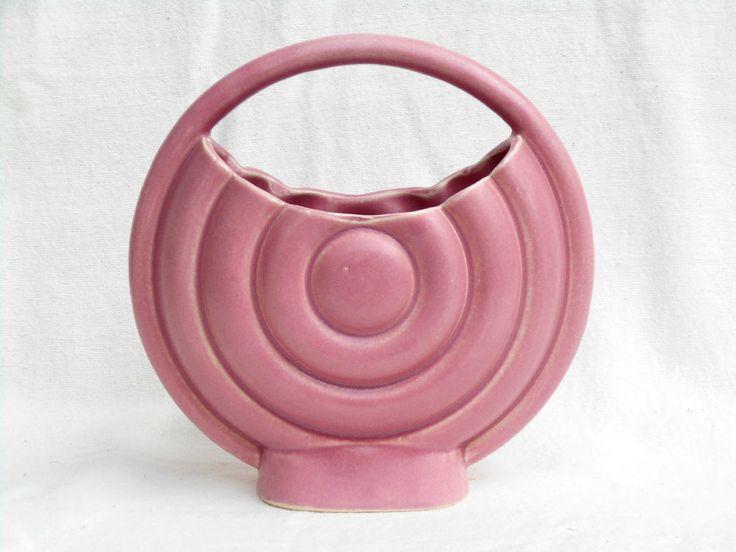 Brush - McCoy Pottery, 8 Inch Bullseye Basket Vase, Alpine Rose, Exc. Cond.