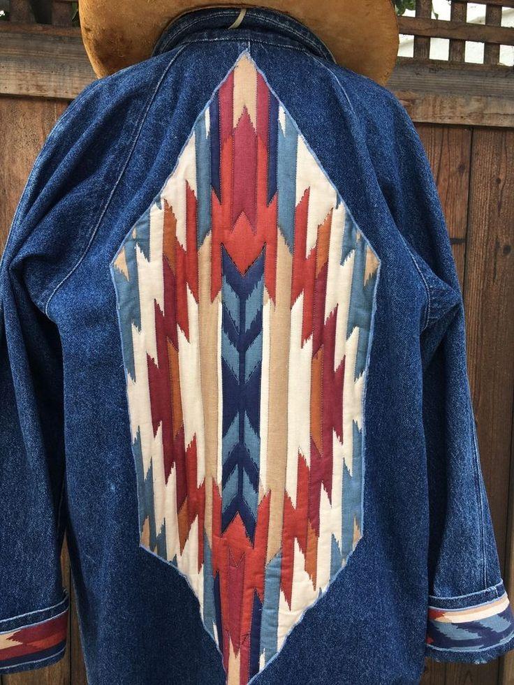Vtg OSHKOSH Denim Duster Coat Women's Long Denim Southwestern Duster Coat M  | eBay