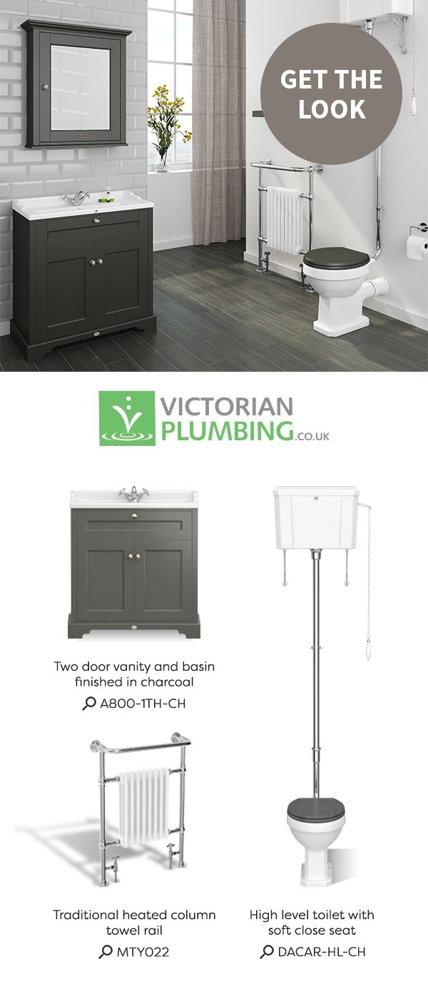 Create a beautiful traditional bathroom with a selection of sophisticated products such as grey bathroom furniture, a classic column radiator and a high level cistern.