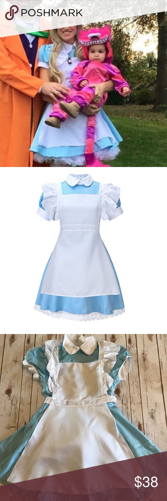 "Adult Alice in Wonderland Costume with Accessories EUC- one small blue mark on front of dress (see pic) but is covered by apron so not noticeable. This Alice in wonderland costume bundle includes the following- Dress, white apron, blonde wig with bangs, ""Drink me"" potion bottle necklace, and black headband with bow. Total retail value spent on entire costume was $60. Smoke free home. See last pic for dress and apron measurements from webpage (I'm 5'6"" 135 lbs) . The wig is not that curly…"