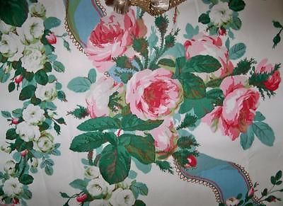 Lee Jofa Kravet Floral Shabby Roses Ribbons Toile Fabric 10 yards White Rose