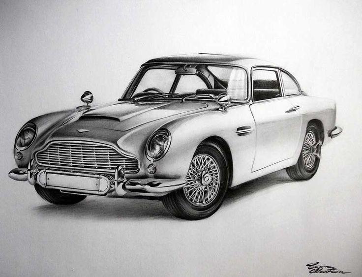 Aston Martin DB5 - Desen în Creion de Corina Olosutean // Aston Martin DB5 - Pencil Drawing by Corina Olosutean