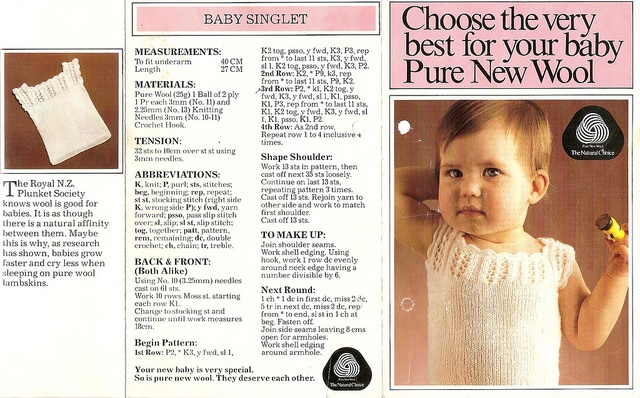 (I knitted this singlet for my sons, a very good pattern. Nadine T) Knitted Baby Singlet. NZ Plunket by Jints1, via Flickr