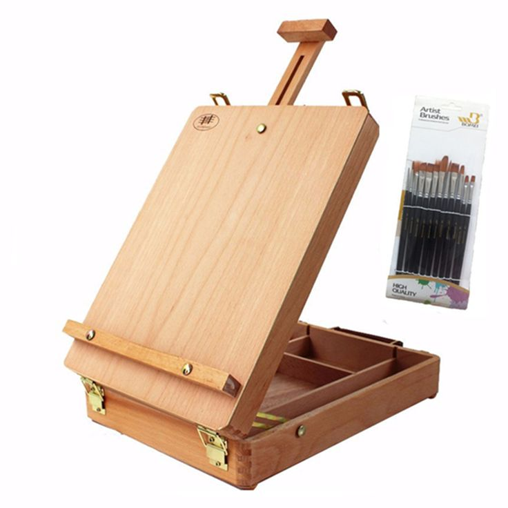 Wooden hand-held easel portable easel oil painting and sketch painting professional art supplies complimentary 12 brush #Affiliate