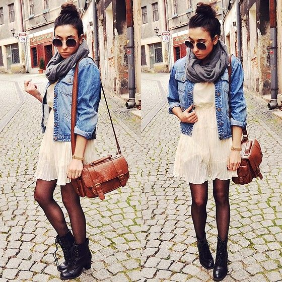 Open chambray top, sheer black tights, cream lace dress, black combat boots, gray infinity scarf and a chestnut brown satchel bag!(: Wear hair in a topknot!
