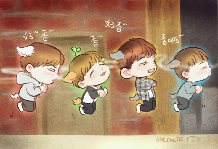Sooooooooooo cute ! ! ! ! ! ! Fan art for exo next door ~ ~ cr:cookie