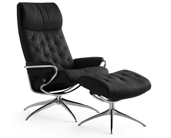 Metro Stressless Chair And Ottoman Black Leather Standard Base Recliner:  Stool: Seat Height: