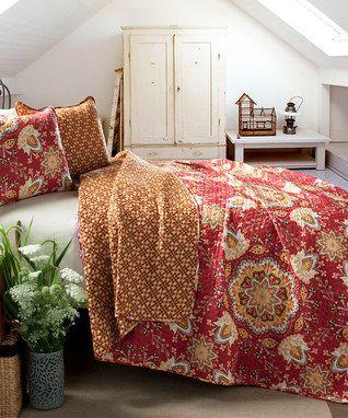 Red Addington Reversible Quilt Set