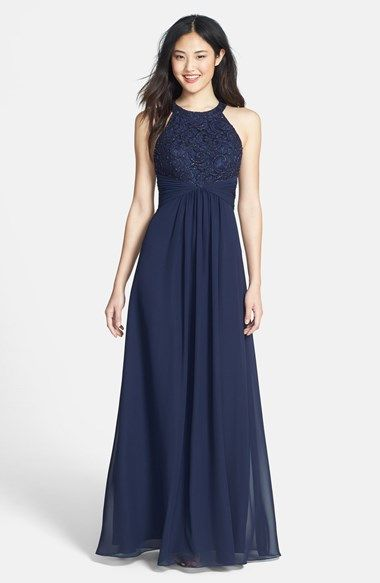 Navy lace + chiffon gown