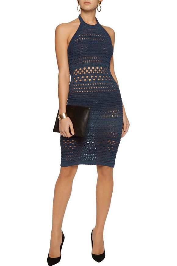 Metallic open-knit halterneck dress | BALMAIN | Sale up to 70% off | THE OUTNET