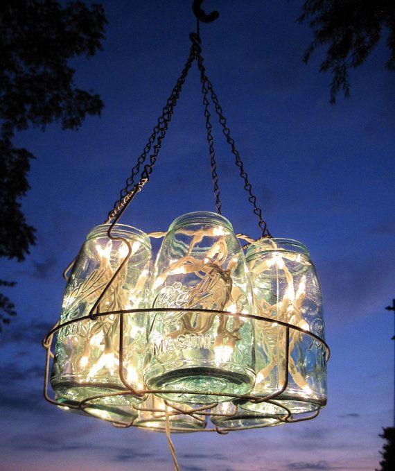 gorgeous mason jar chandelier!