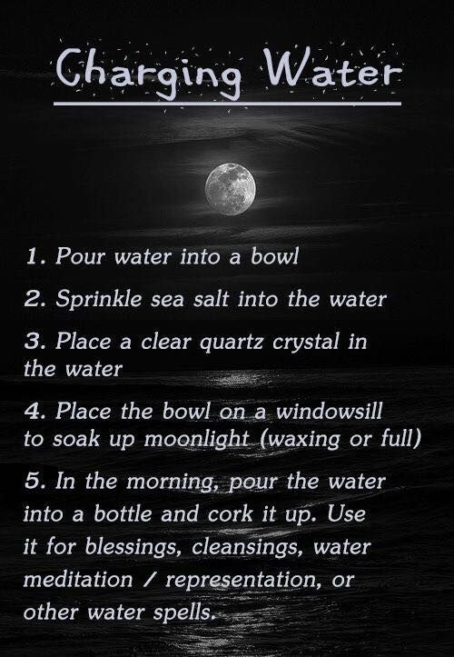 Charging water for use in ritual or spells. #wicca #Witchcraft