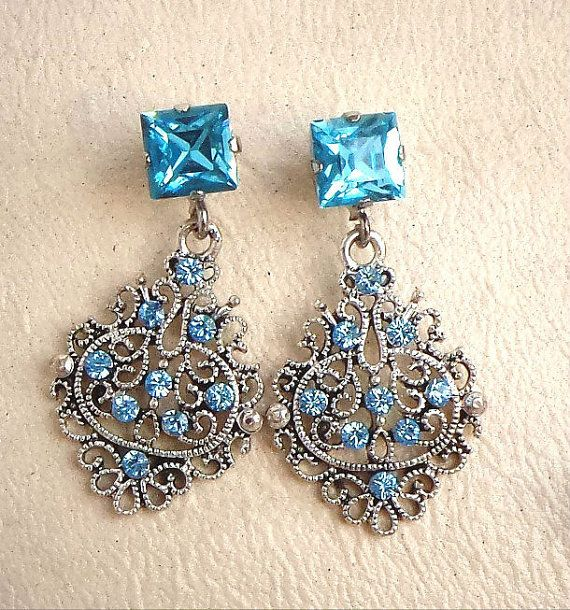 Swarovski elements stud and drop earrings by CrystallizedByLena